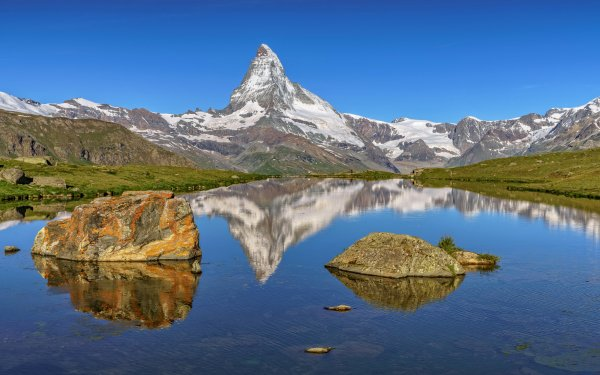 Earth Matterhorn Mountains Lake Alps Switzerland Rock Nature Landscape Reflection Peak HD Wallpaper | Background Image