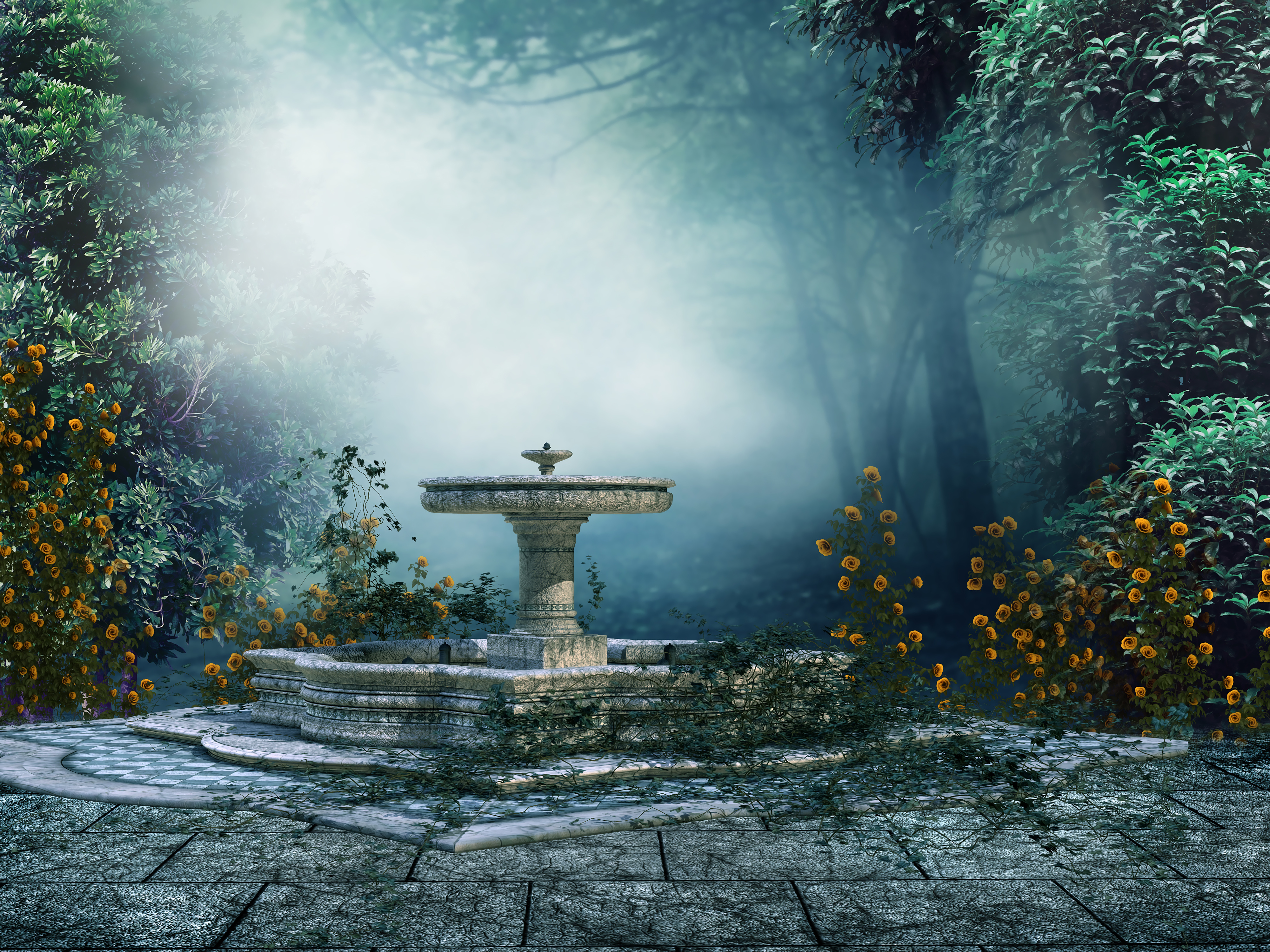 Courtyard With Fountain 4k Ultra Hd Wallpaper Background