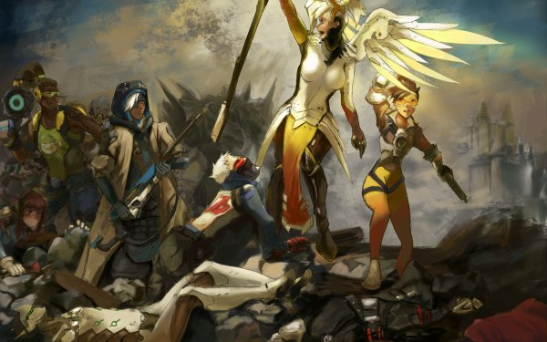 Video Game Overwatch Mercy Tracer Genji Zenyatta Ana D.Va Reaper Soldier: 76 Lúcio McCree Reinhardt HD Wallpaper | Background Image
