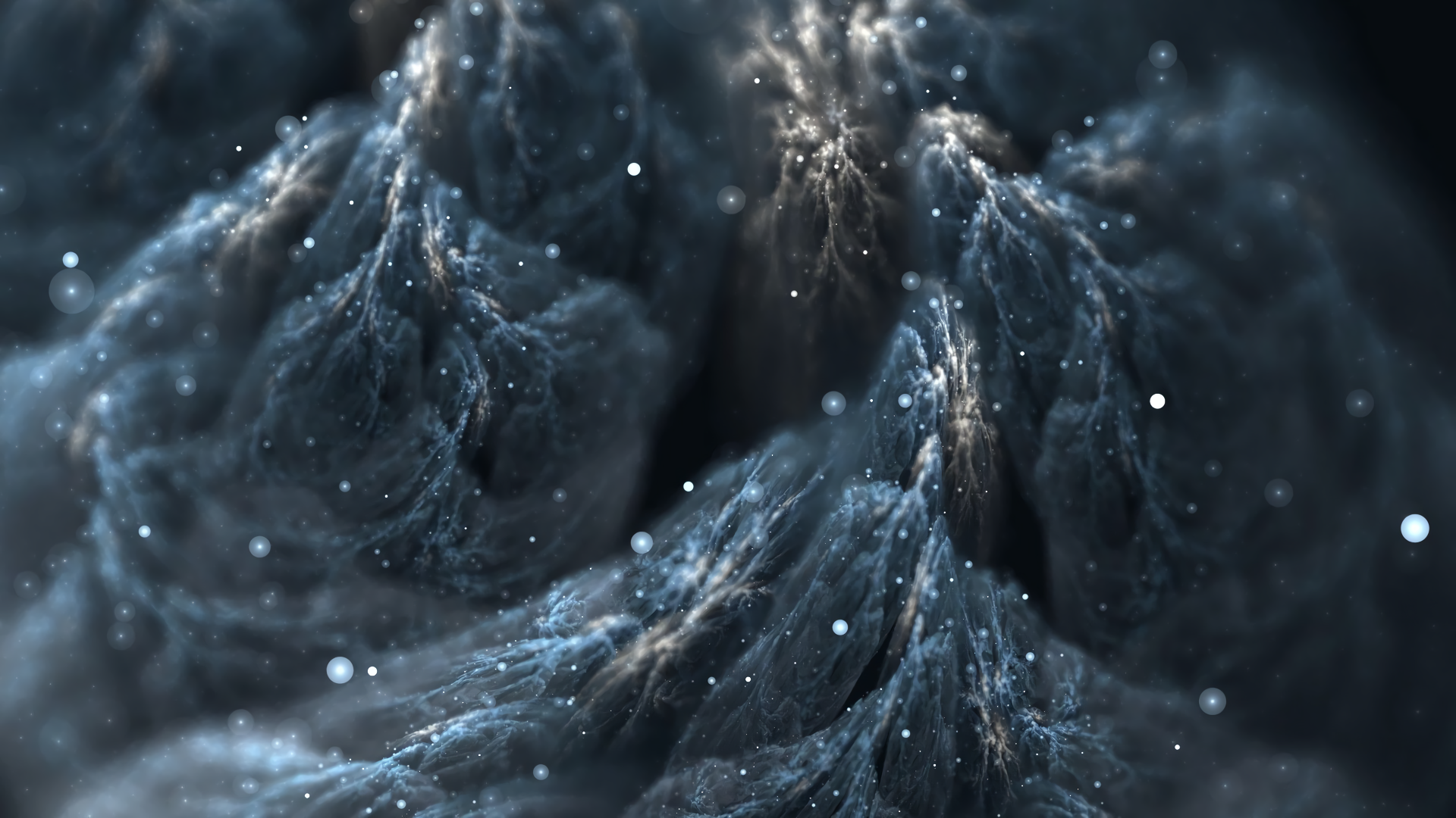 Abstract - Smoke  Blue Artistic Sparkles Gray Close-Up Wallpaper