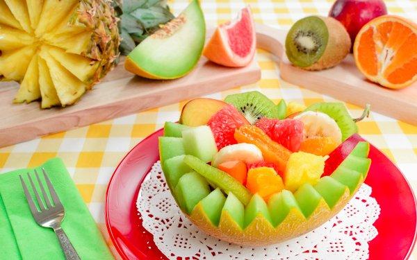 Food Fruit Fruits Pineapple Kiwi orange Melon HD Wallpaper   Background Image