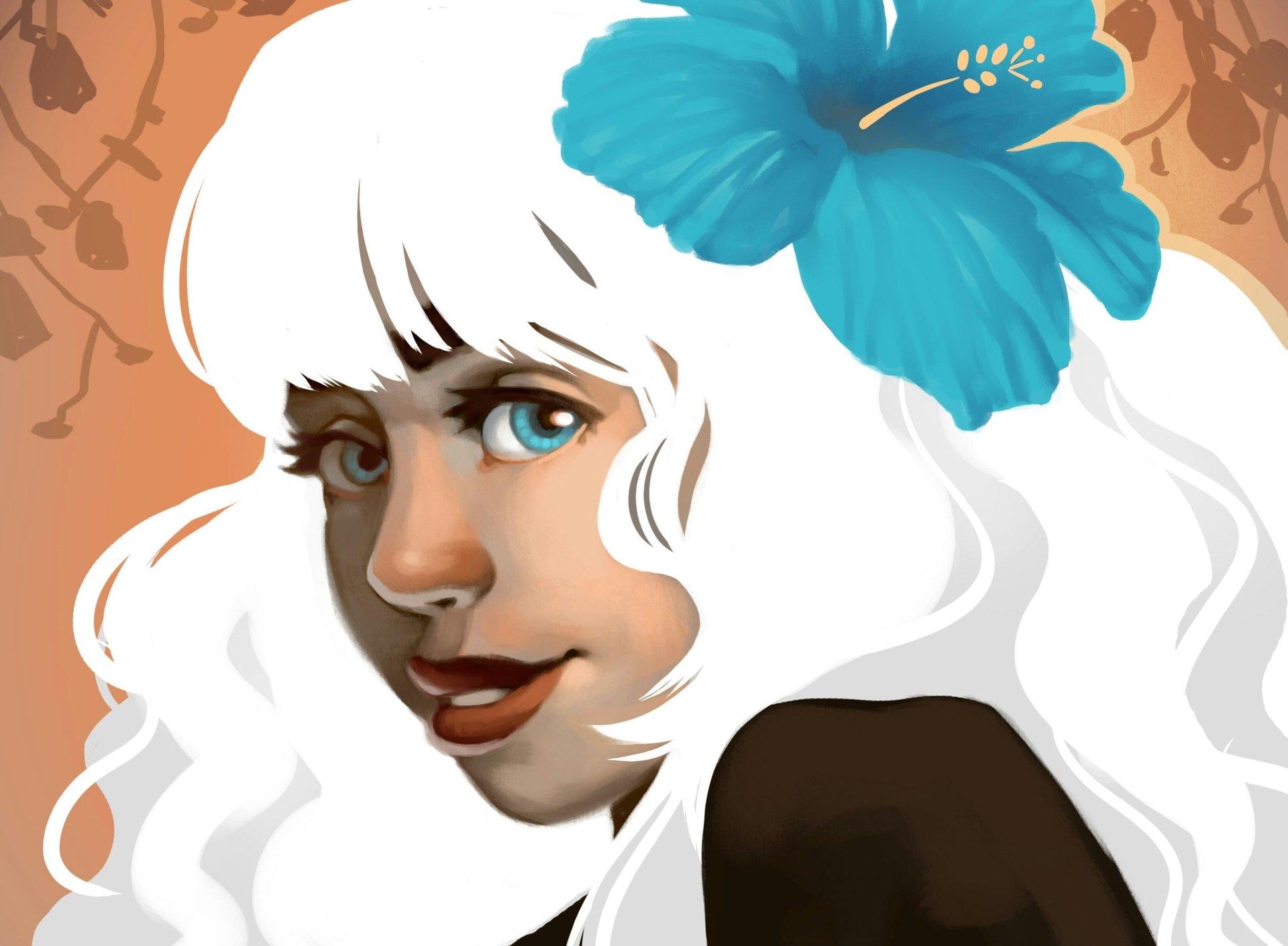 Artistic - Women  Blue Eyes White Hair Face Girl Woman Wallpaper
