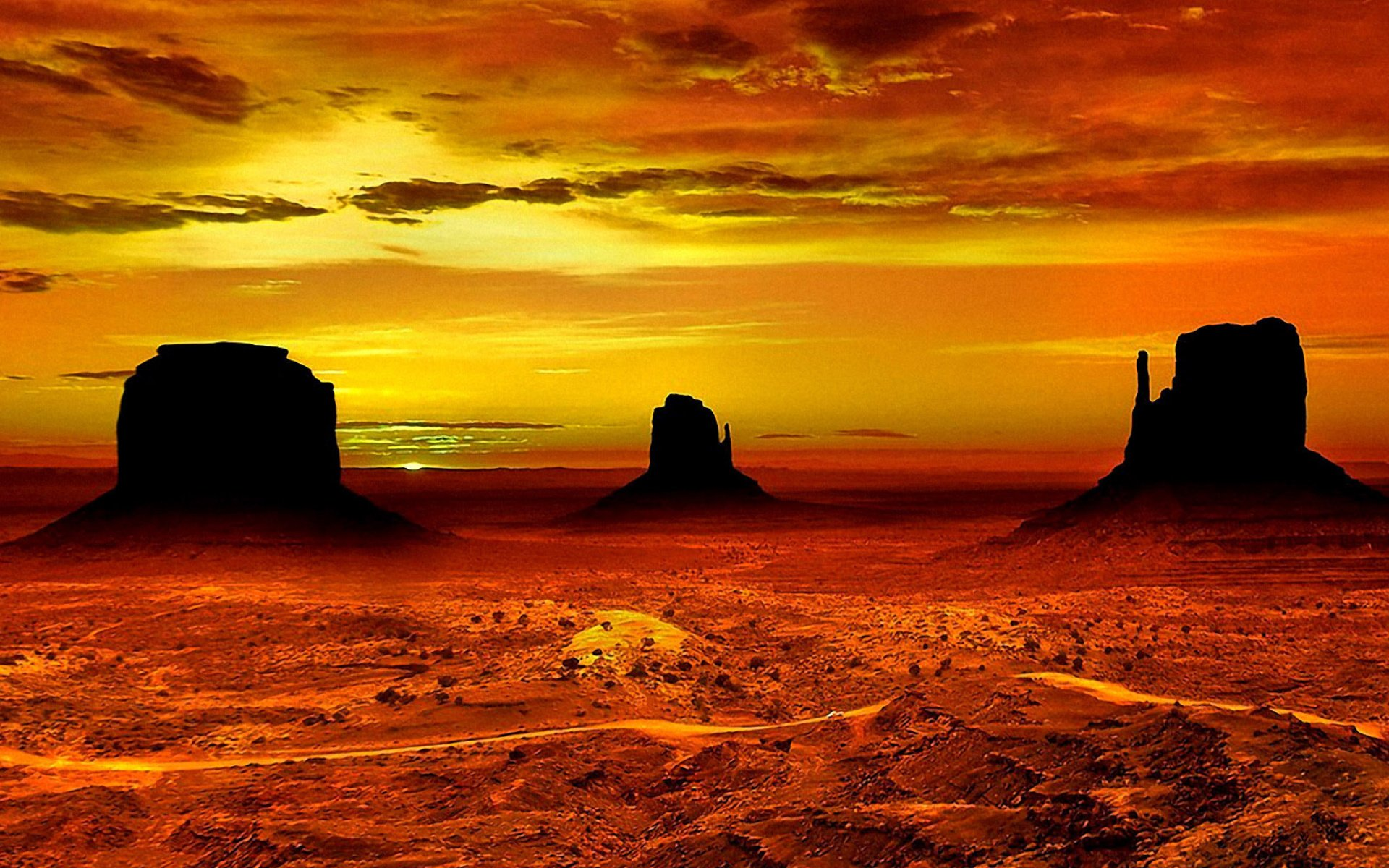 Monument Valley Sunset HD Wallpaper
