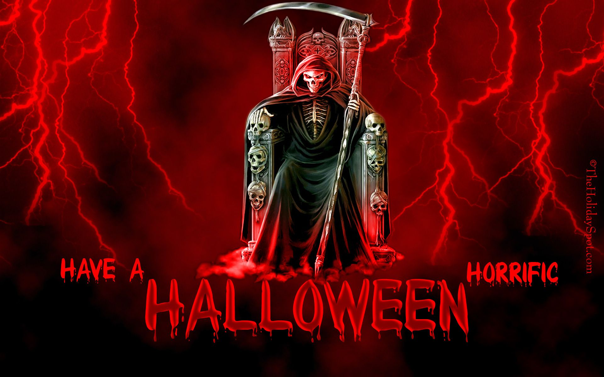 holiday halloween holiday scythe red grim reaper throne lightning wallpaper
