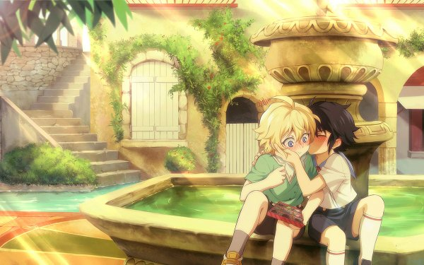 Anime Seraph of the End Yūichirō Hyakuya Mikaela Hyakuya Blonde Black Hair Kiss HD Wallpaper | Background Image