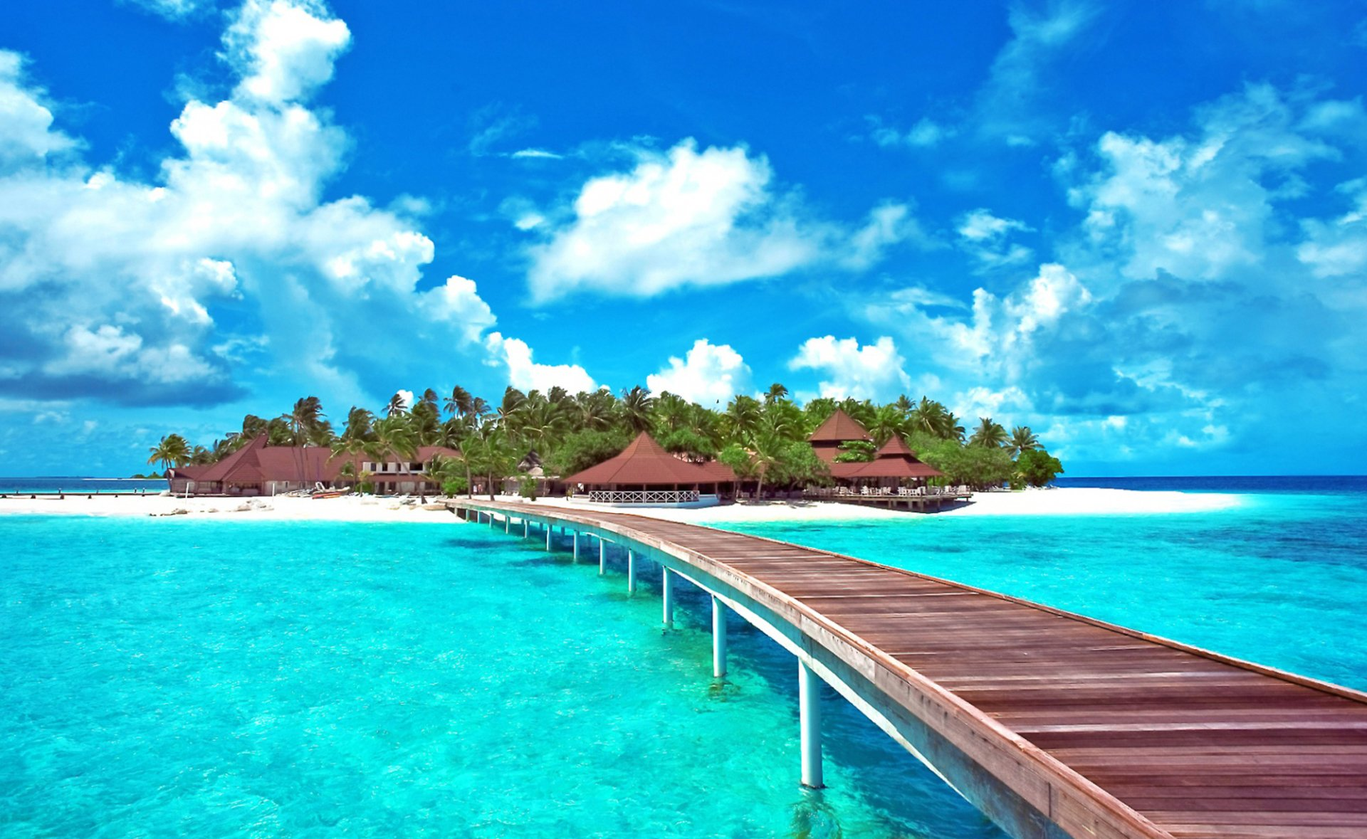 pier to caribbean island full hd wallpaper and background image