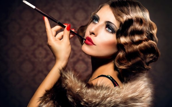 Women Fashion Model Lipstick Smoking Brunette Blue Eyes HD Wallpaper | Background Image