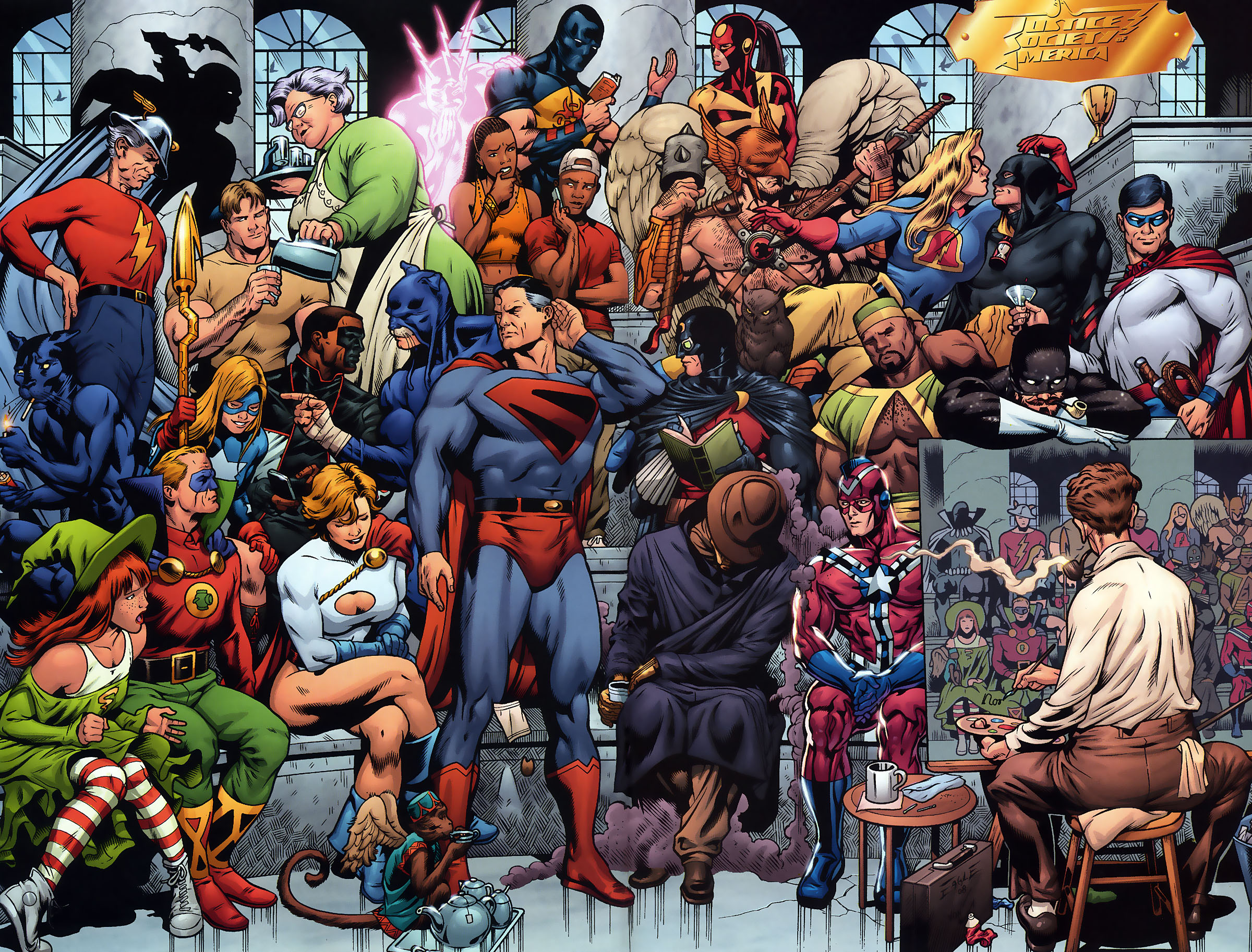 Justice society of america full hd wallpaper and background image comics justice society of america superman flash green lantern power girl liberty belle earth voltagebd Images
