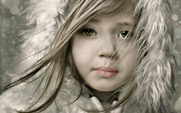 Artistic Child Little Girl Green Eyes HD Wallpaper | Background Image
