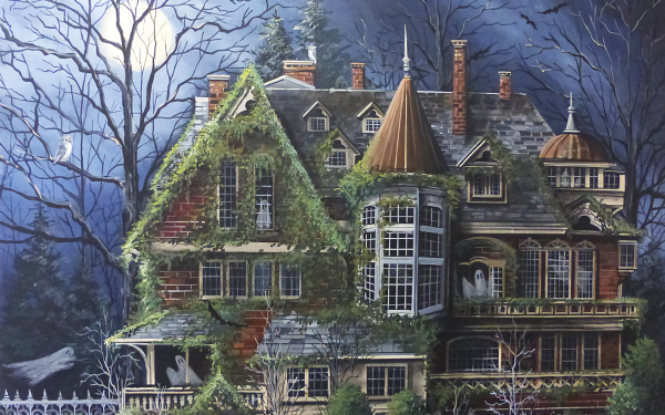 Holiday Halloween House Haunted Ghost HD Wallpaper   Background Image