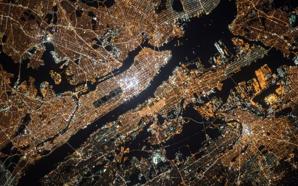 Man Made New York Cities United States Aerial Night USA City Light Cityscape New Jersey HD Wallpaper | Background Image