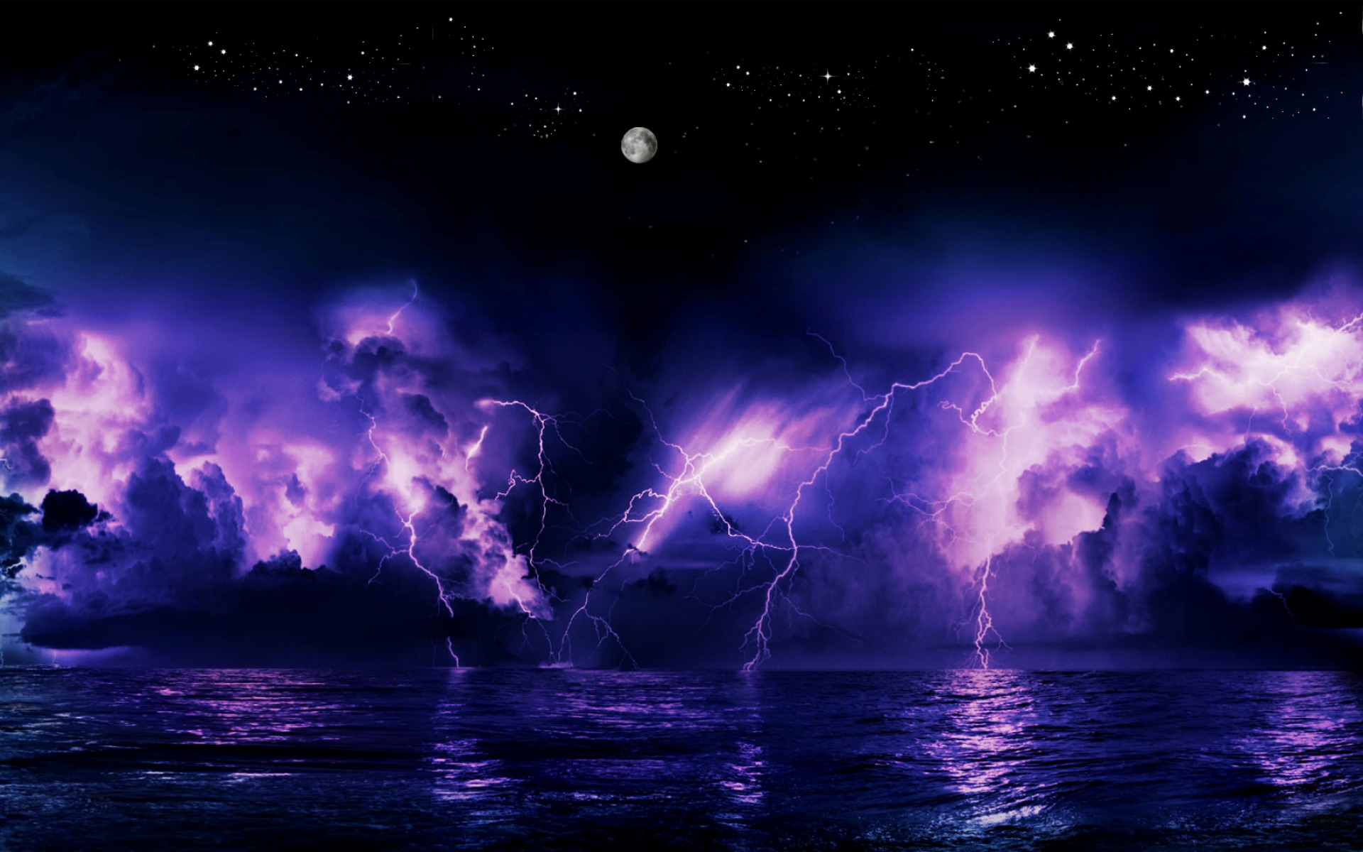 purple sunset and lightning storm full hd wallpaper and