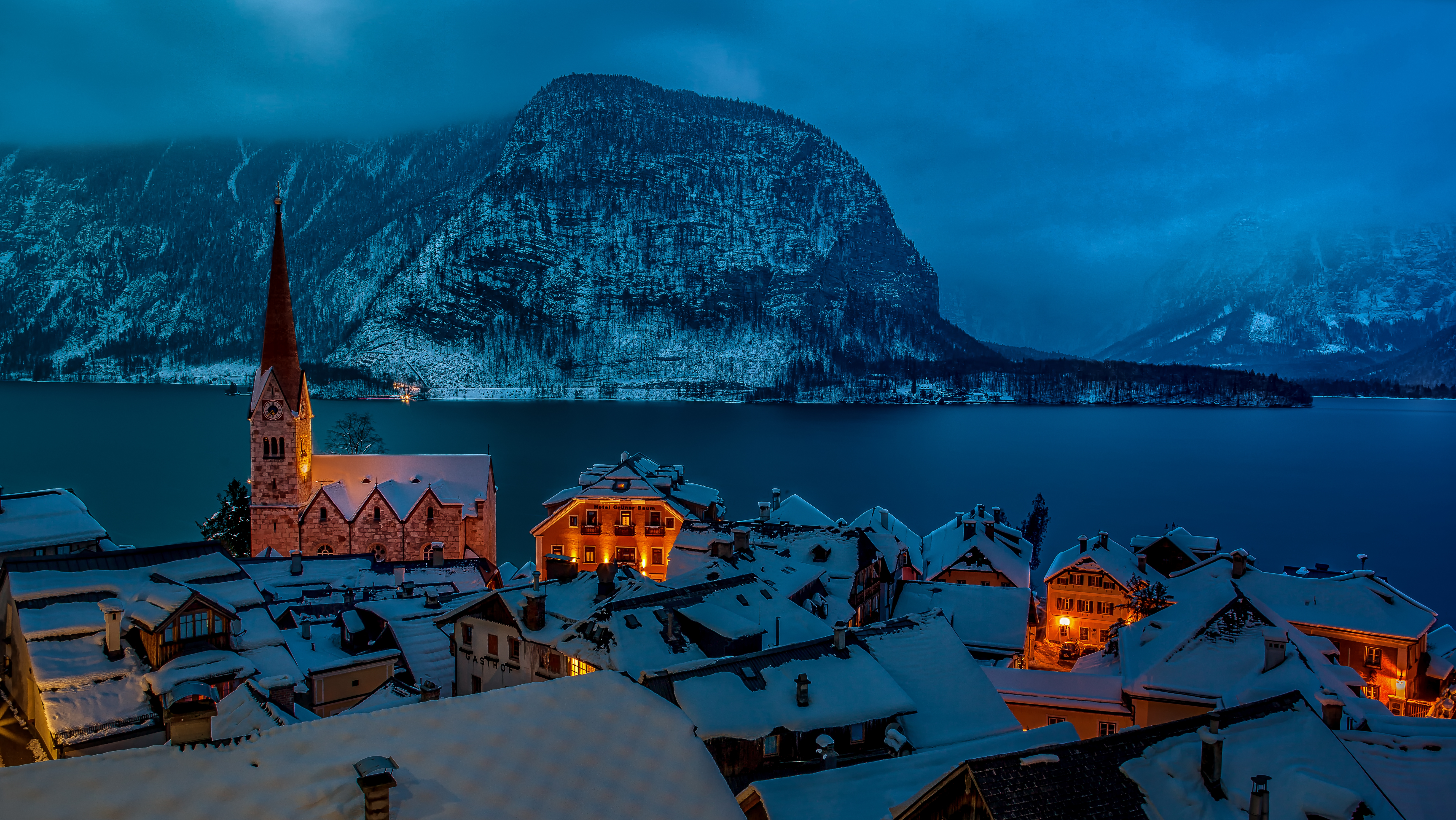 Winter Night In Hallstatt Austria 5k Retina Ultra HD Wallpaper