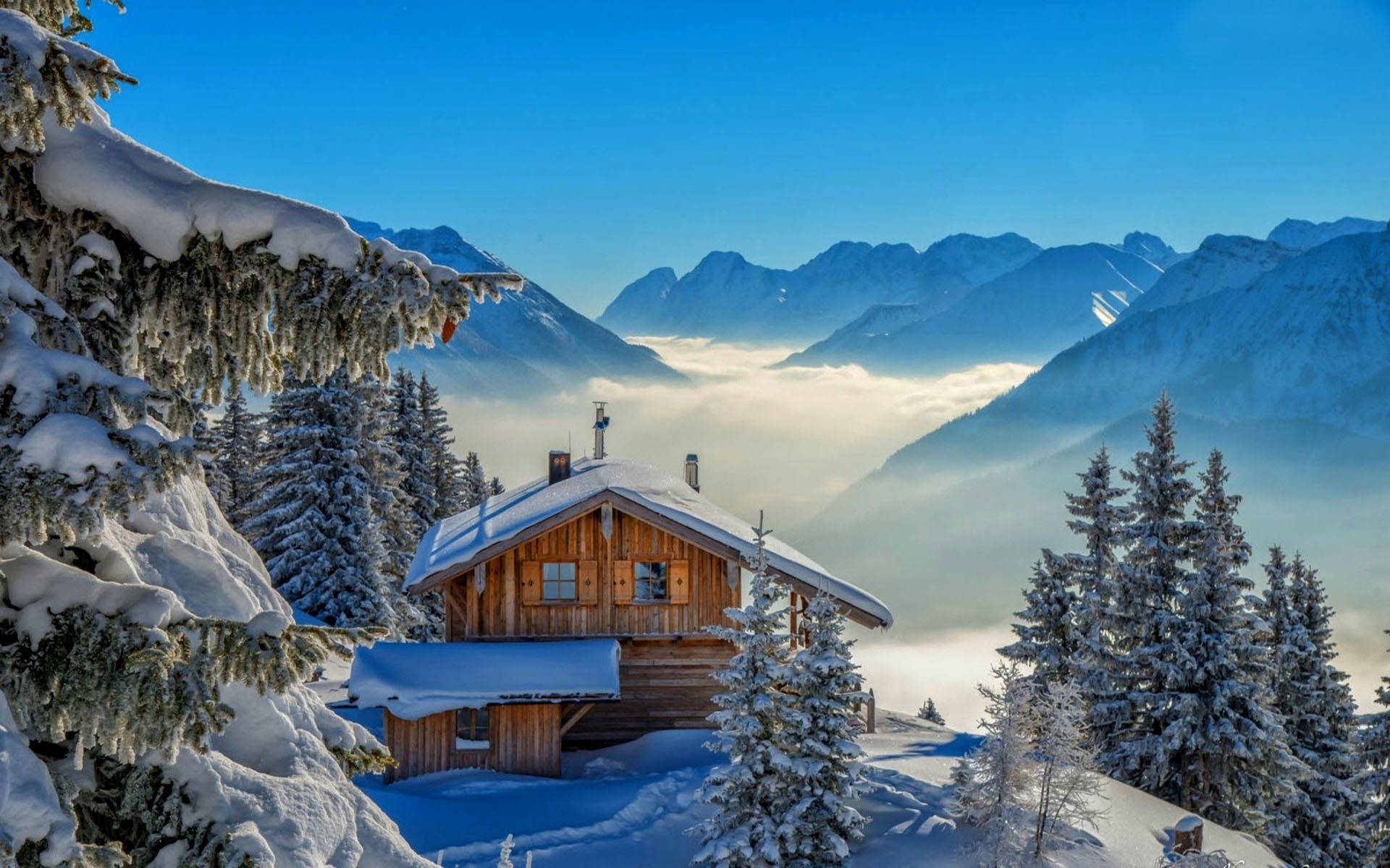 Cabin In The Winter Mountains HD Wallpaper