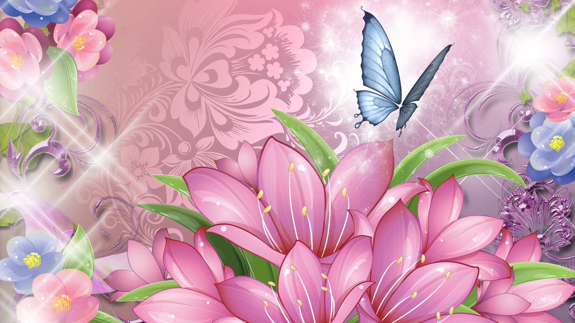 flowers and butterfly full hd wallpaper and background image