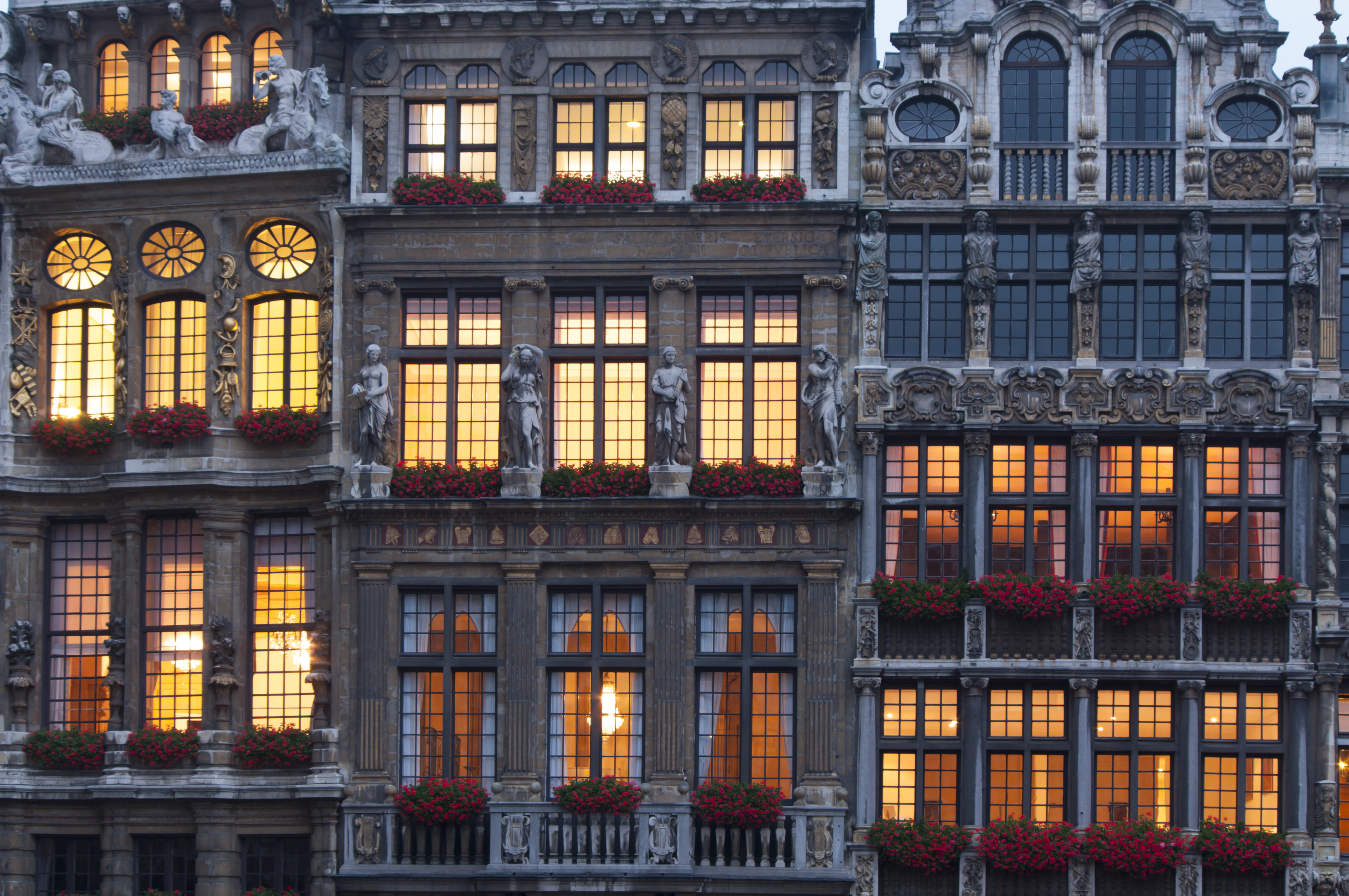 Windows Of Building In La Grand Place Brussels Belgium 5k