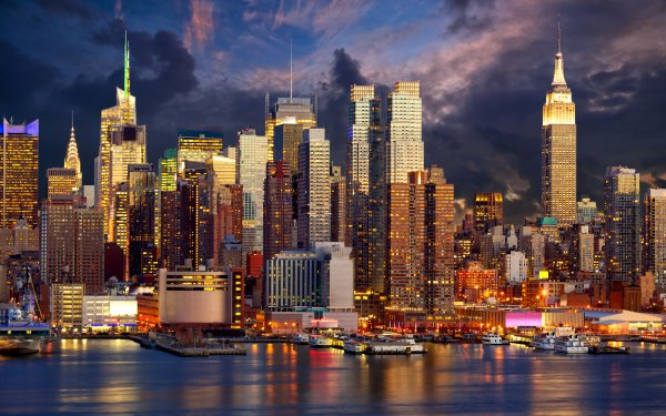 Man Made Manhattan Cities United States Skyscraper New York Light Night USA City Building HD Wallpaper | Background Image