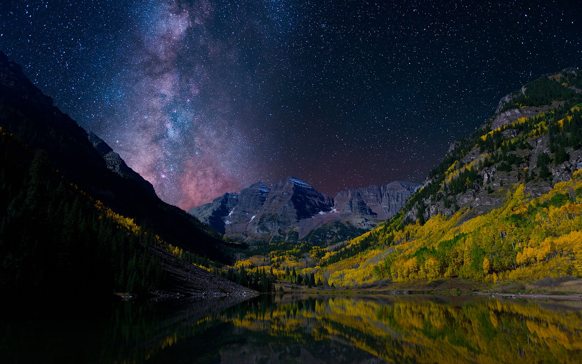 Earth - Landscape  Sky Milky Way Norway Earth Mountain Valley Forest Night Reflection Stars Starry Sky Wallpaper