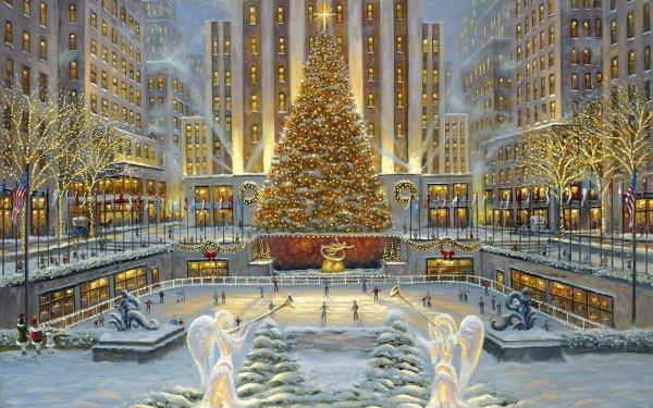 Artistisk Tavla Helgdag Christmas Rockefeller Center Christmas Tree Skating Rink Ljus HD Wallpaper | Background Image