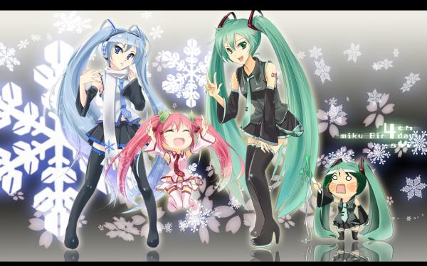 Anime Vocaloid Hatsune Miku Sakura Miku Hachune Miku HD Wallpaper | Background Image
