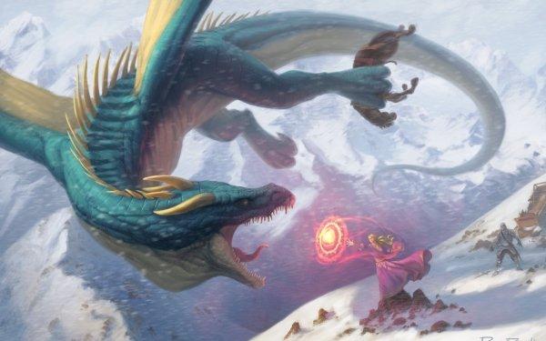 Fantaisie Dragon Snowfall Magique Magicienne Fond d'écran HD | Image