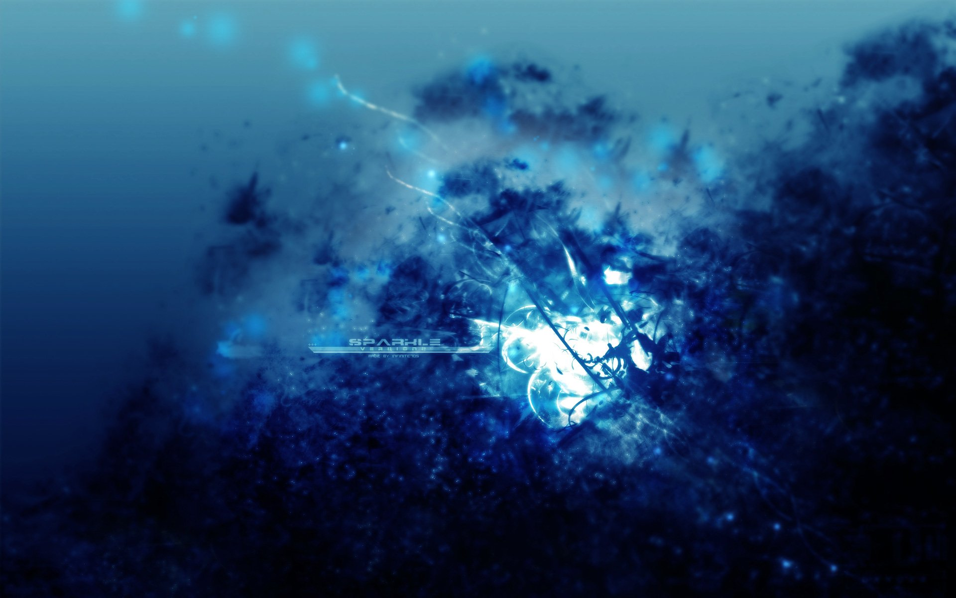 Abstract - Blue  Colors Shapes Pattern Texture Technology Abstract Artistic 3D CGI Digital Art Glow Wallpaper