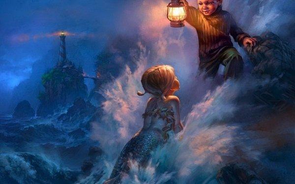 Artistic Painting Mermaid Little Girl Little Boy Lantern HD Wallpaper | Background Image