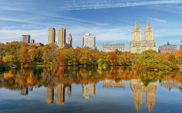 Man Made Central Park Tree New York Water Tautumn USA Reflection Building HD Wallpaper   Background Image