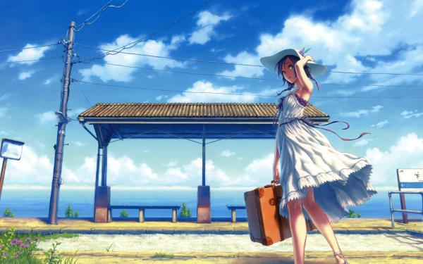 Anime Mujeres Verano Sea Chica Suitcase Fondo de pantalla HD | Fondo de Escritorio