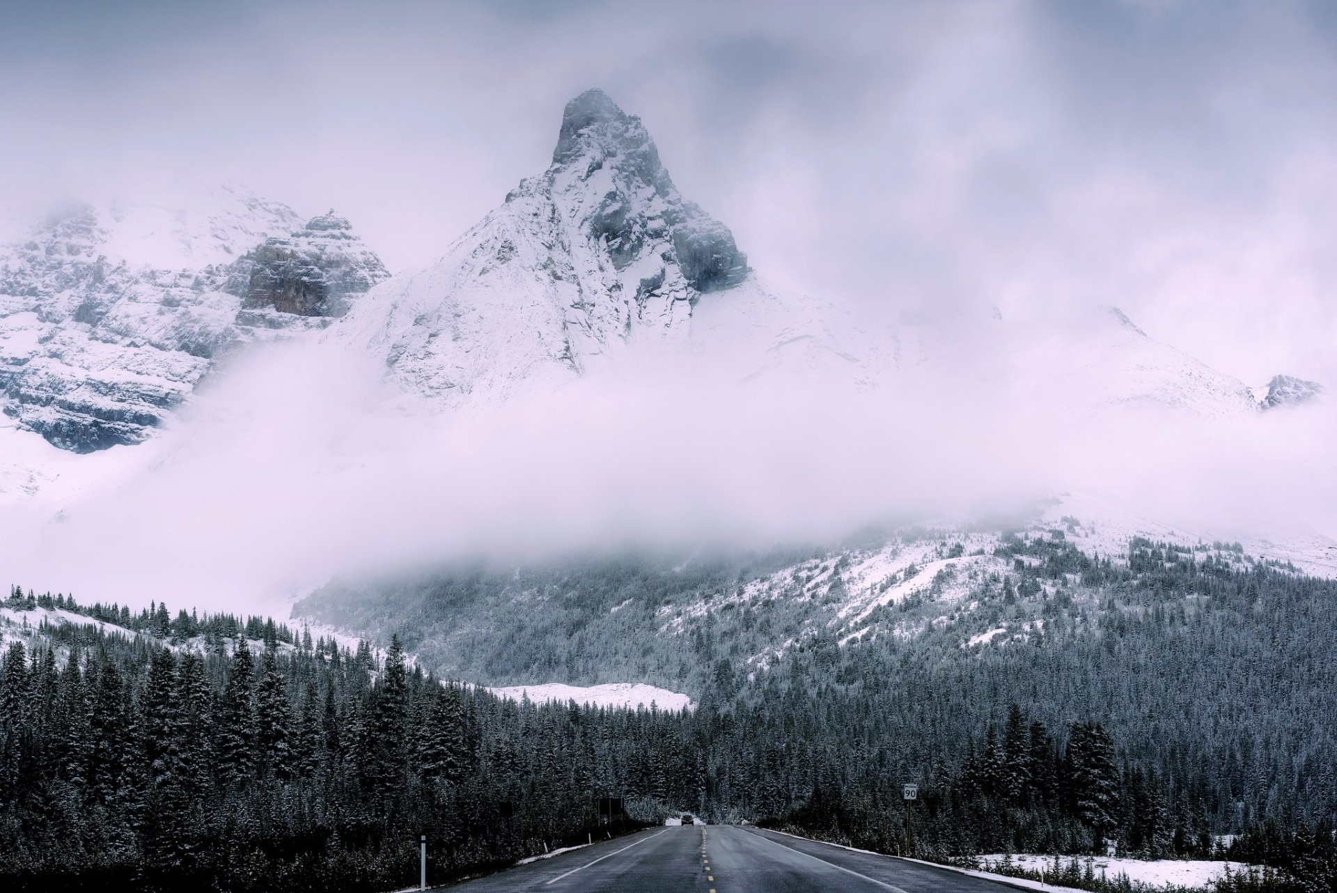 Man Made - Road  Fog Nature Forest Winter Snow Peak Mountain Wallpaper