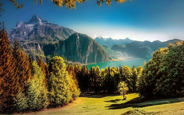 Earth Landscape Mountain Lake Tree Forest HD Wallpaper   Background Image