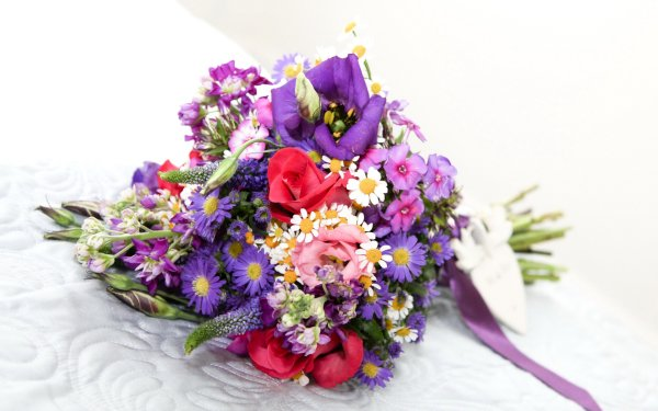 Man Made Flower Eustoma Rose Chrysanthemum Bouquet Pink Flower Purple Flower HD Wallpaper   Background Image