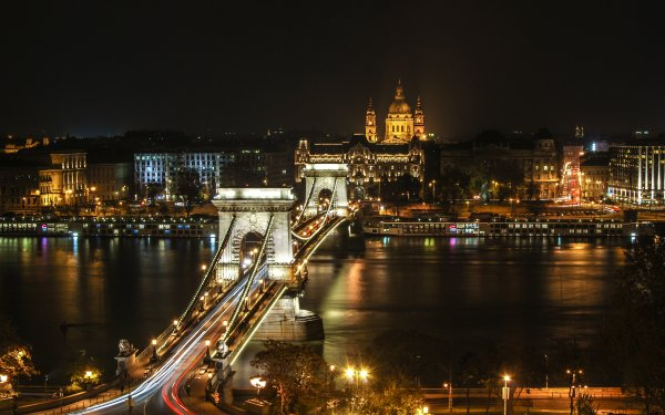 Man Made Chain Bridge Bridges Budapest Hungary River Bridge Night City Time-Lapse Light HD Wallpaper | Background Image
