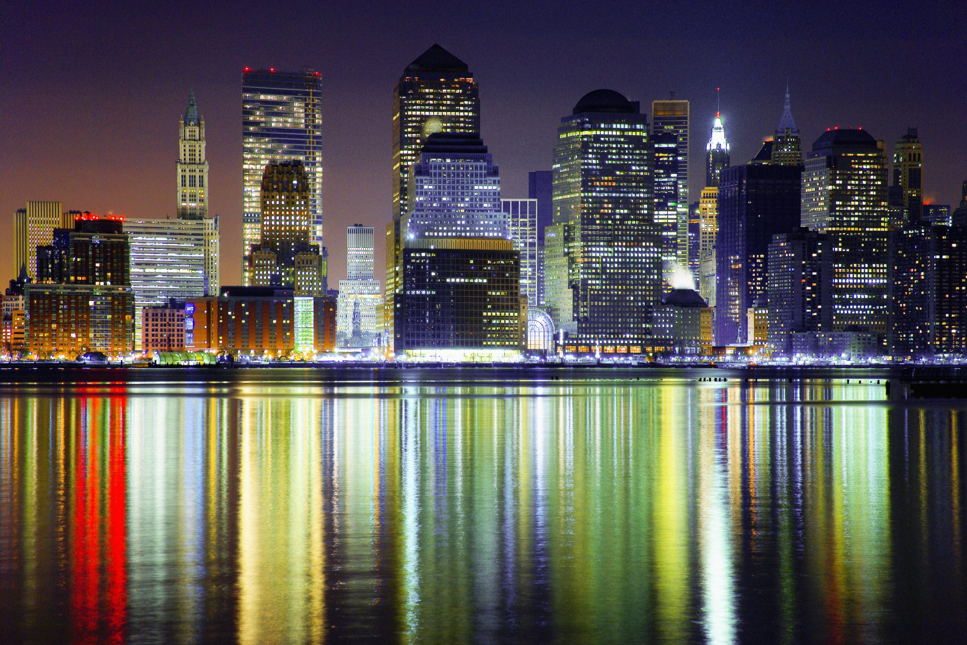 Man Made - Manhattan  City Light Reflection Wallpaper