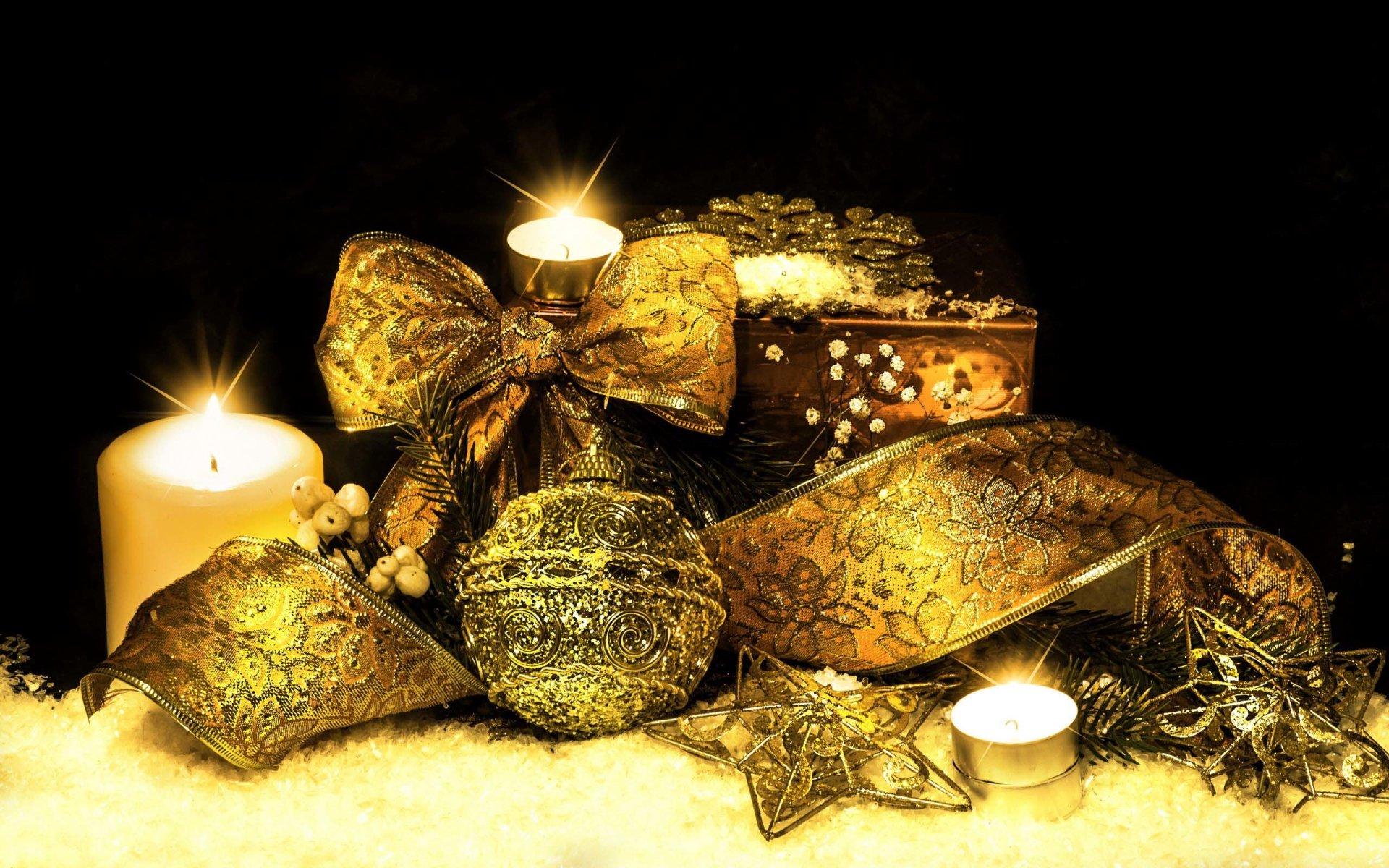 节日 - 圣诞节  Golden 节日 Christmas Ornaments Ribbon Star 蜡烛 壁纸
