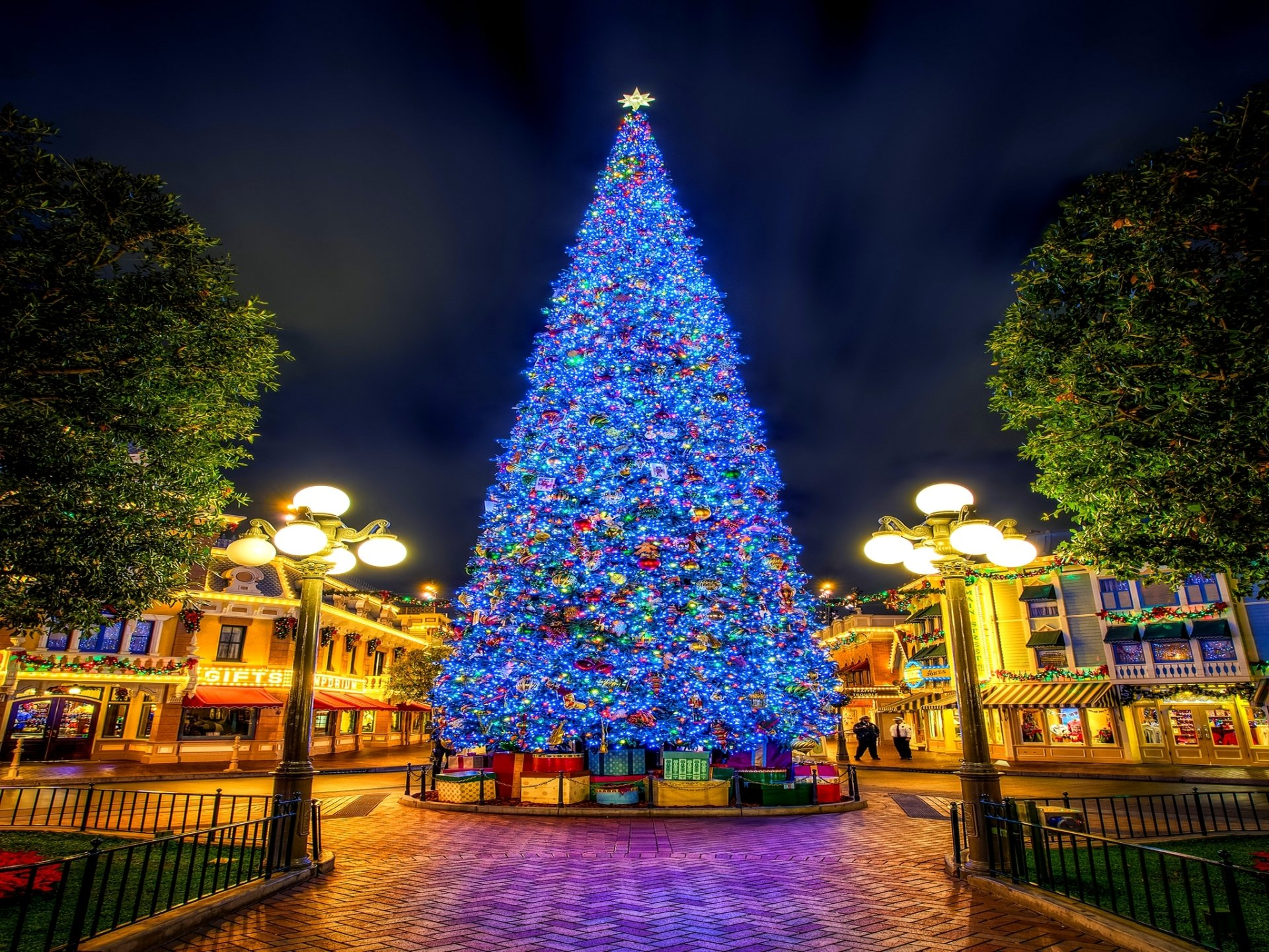 Holiday - Christmas  Holiday Christmas Tree Light Blue Square Town Wallpaper
