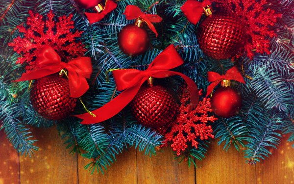 Holiday Christmas Branch Pine Christmas Ornaments Red HD Wallpaper | Background Image