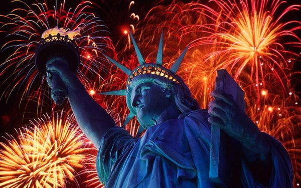 Photography Fireworks Colors Colorful Statue of Liberty HD Wallpaper | Background Image