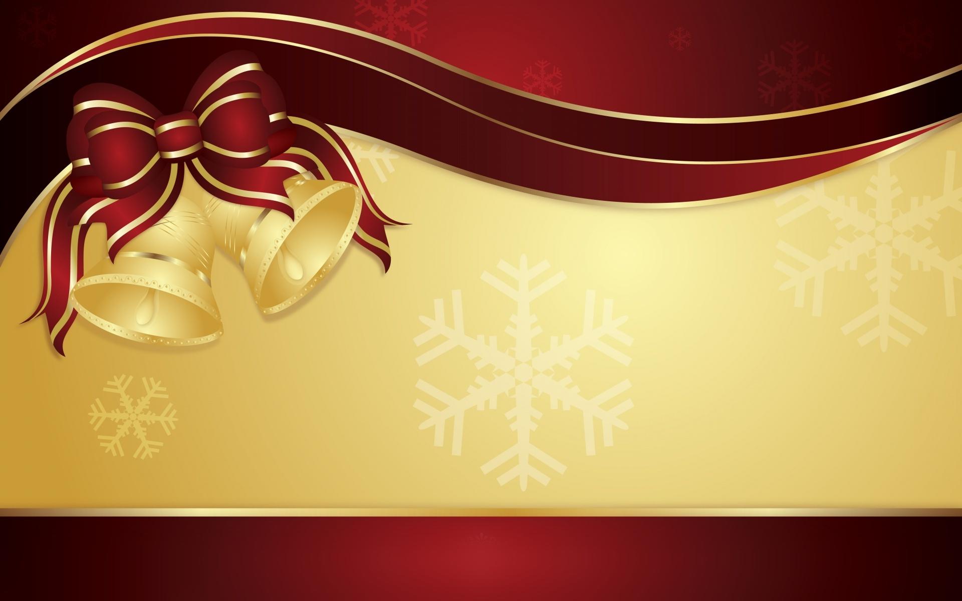 Gold Christmas Bells HD Wallpaper