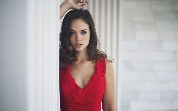 Mujeres Modelo Modelos Woman Morena Green Eyes Red Dress Fondo de pantalla HD | Fondo de Escritorio