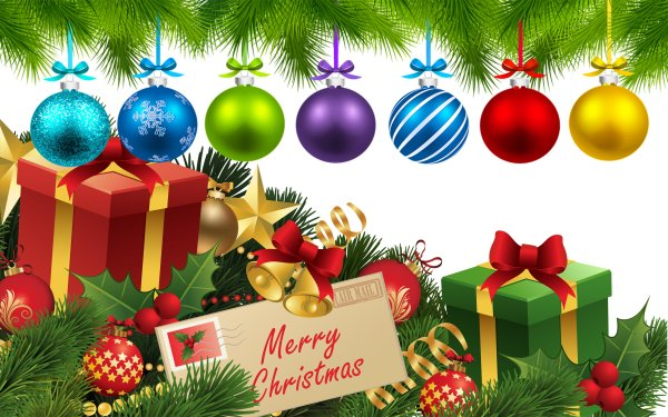 Holiday Christmas Christmas Ornaments Bell Gift Colorful HD Wallpaper | Background Image