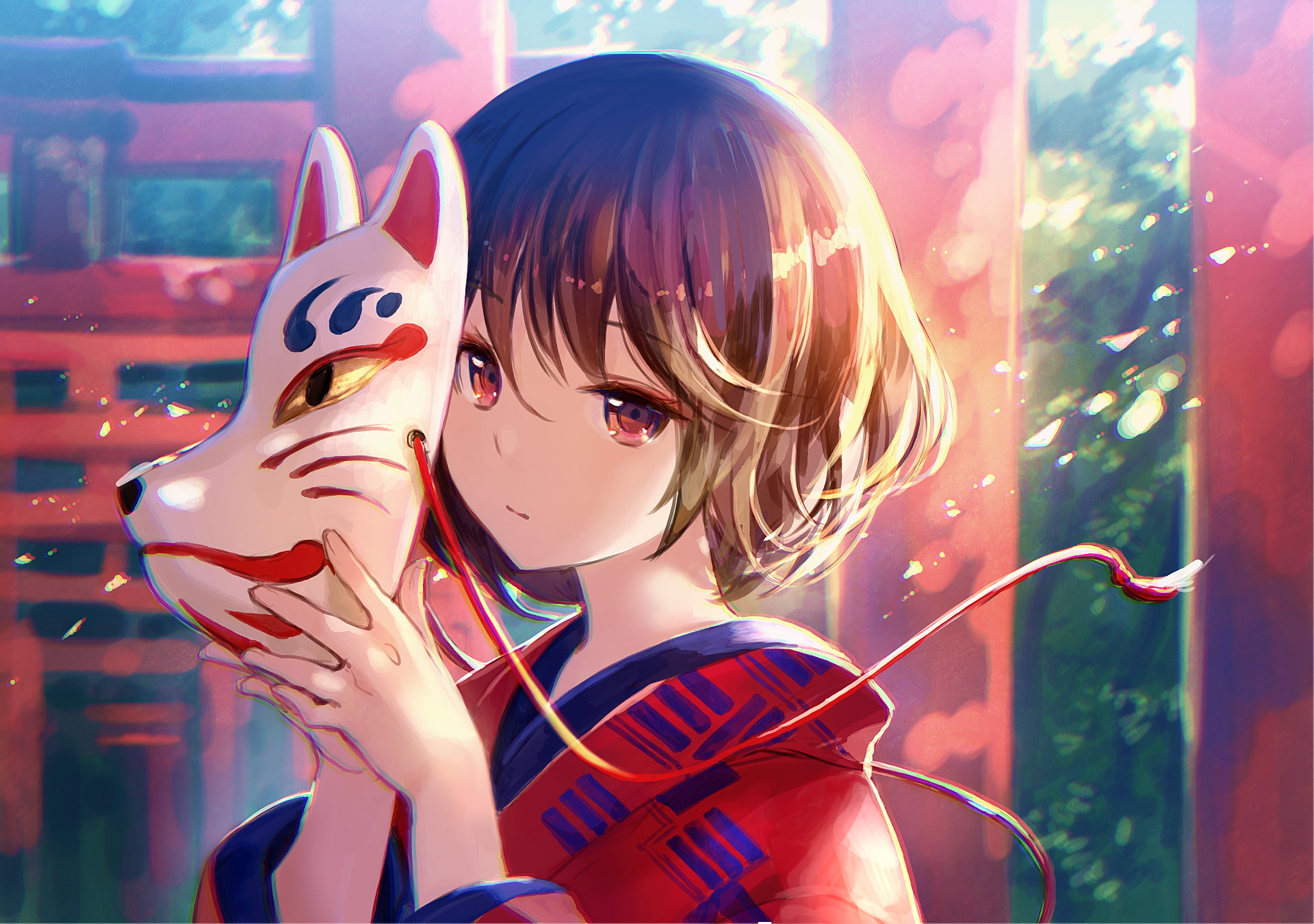 Anime - Original  Garota Original (Anime) Máscara Papel de Parede