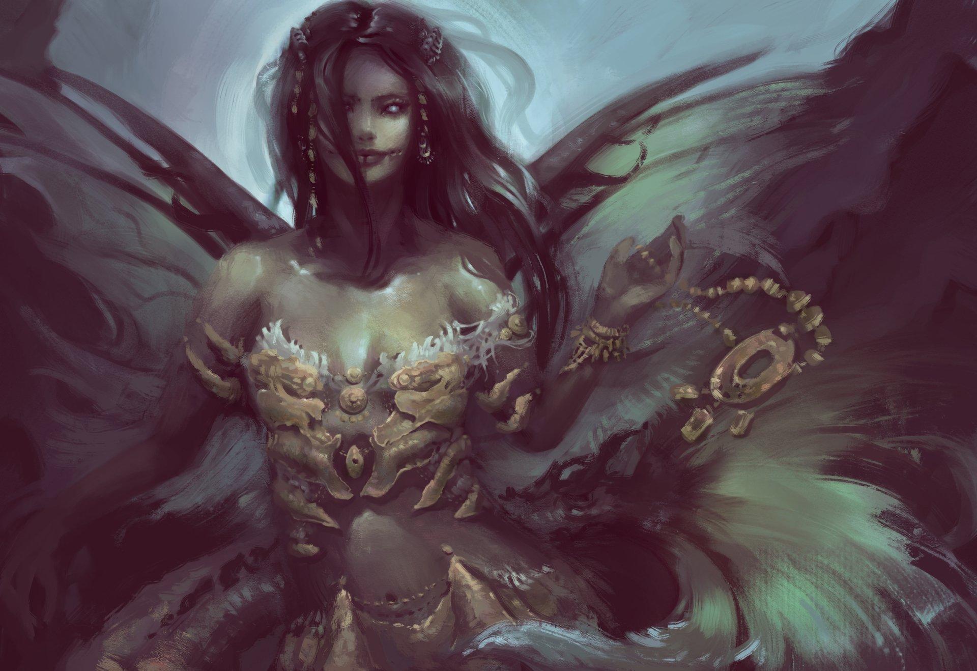 Fantasy - Dark  Woman Girl Black Hair Wings Wallpaper