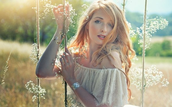 Women Model Models Redhead White Dress Blue Eyes HD Wallpaper | Background Image