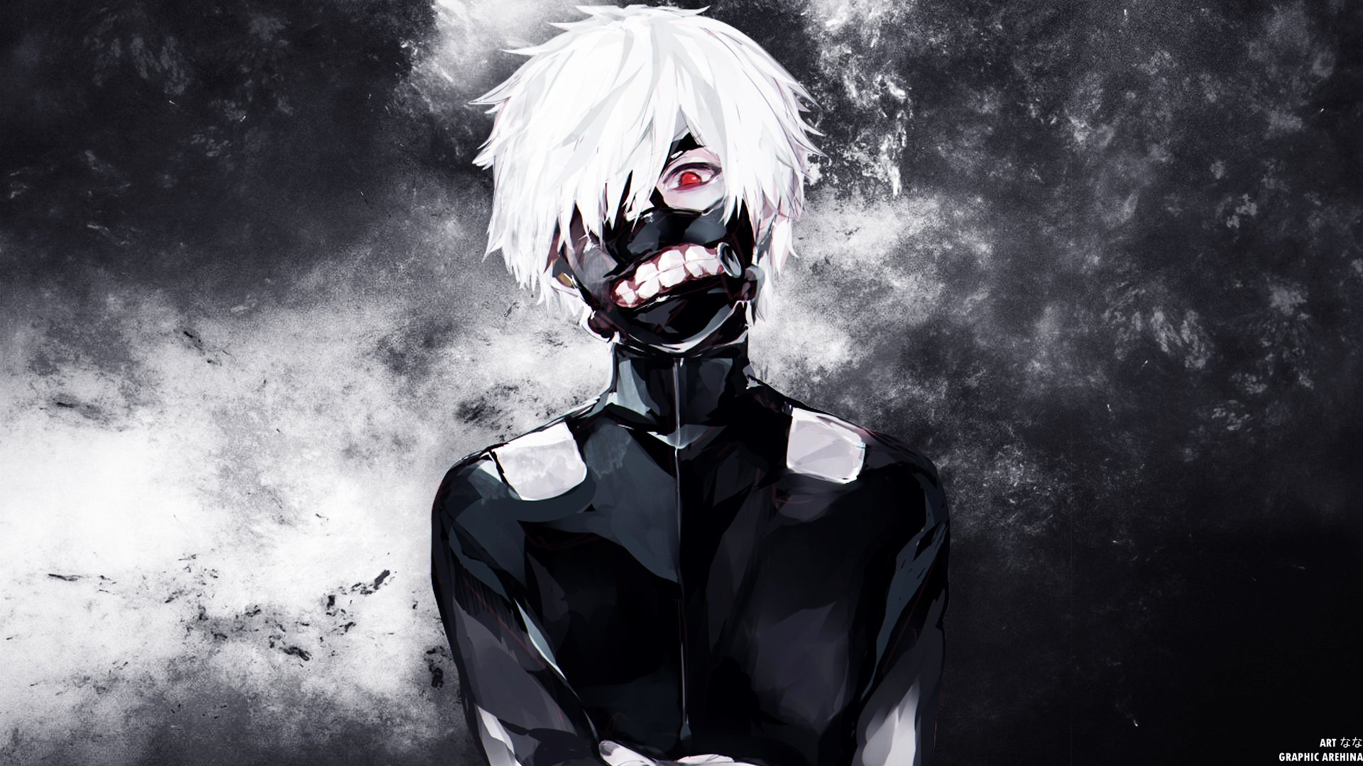 View Ken Kaneki White Hair Mask Wallpapers