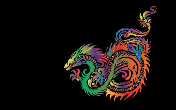 Fantasy Dragon Tribal Minimalist HD Wallpaper | Background Image