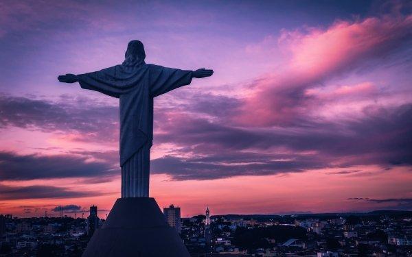 Religious Christ The Redeemer Statue Cloud Brazil Rio de Janeiro Jesus Sunrise HD Wallpaper | Background Image