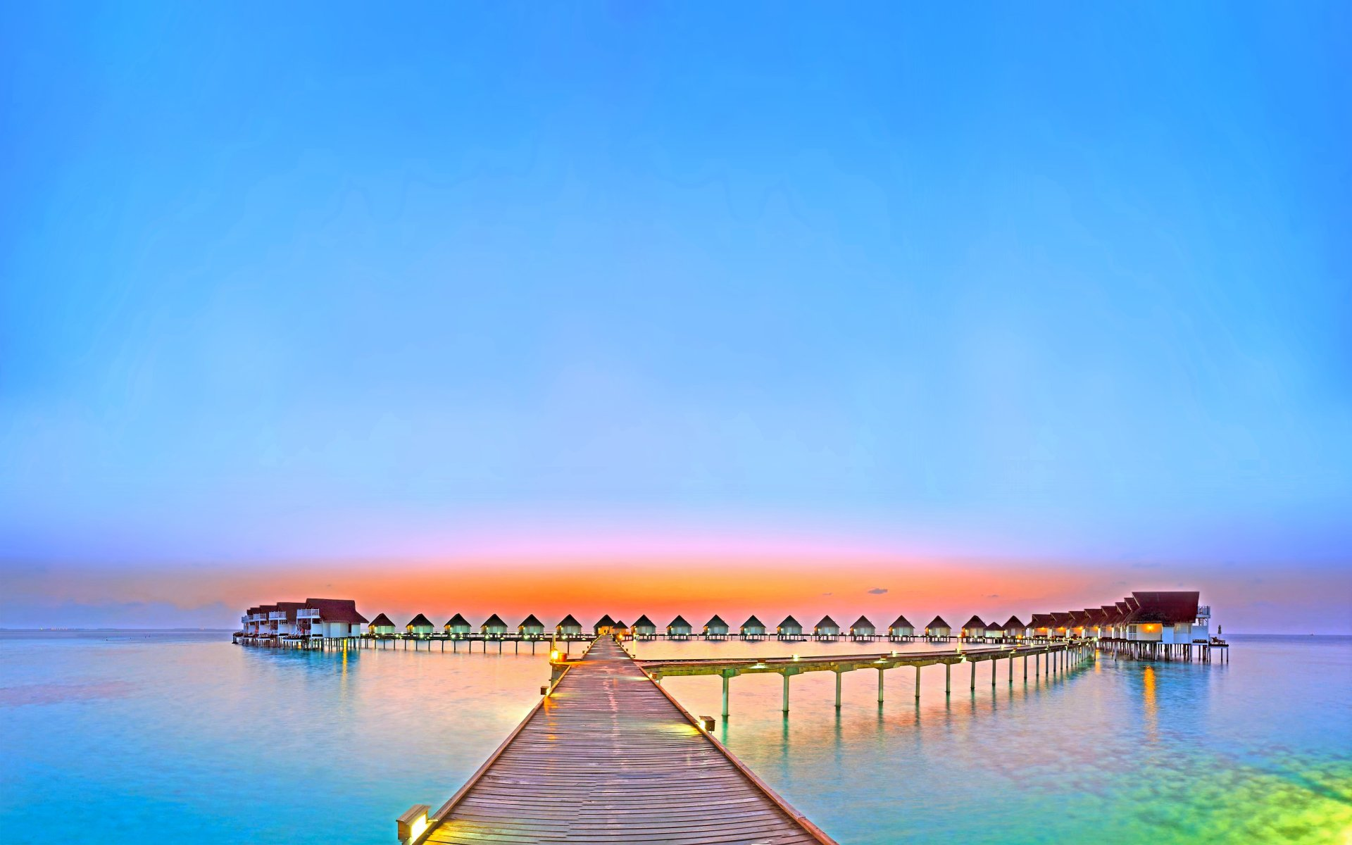 Man Made - Resort  Glow Ocean Colorful Holiday Maldives Horizon Scenic Sea Turquoise Sky Pier Wallpaper