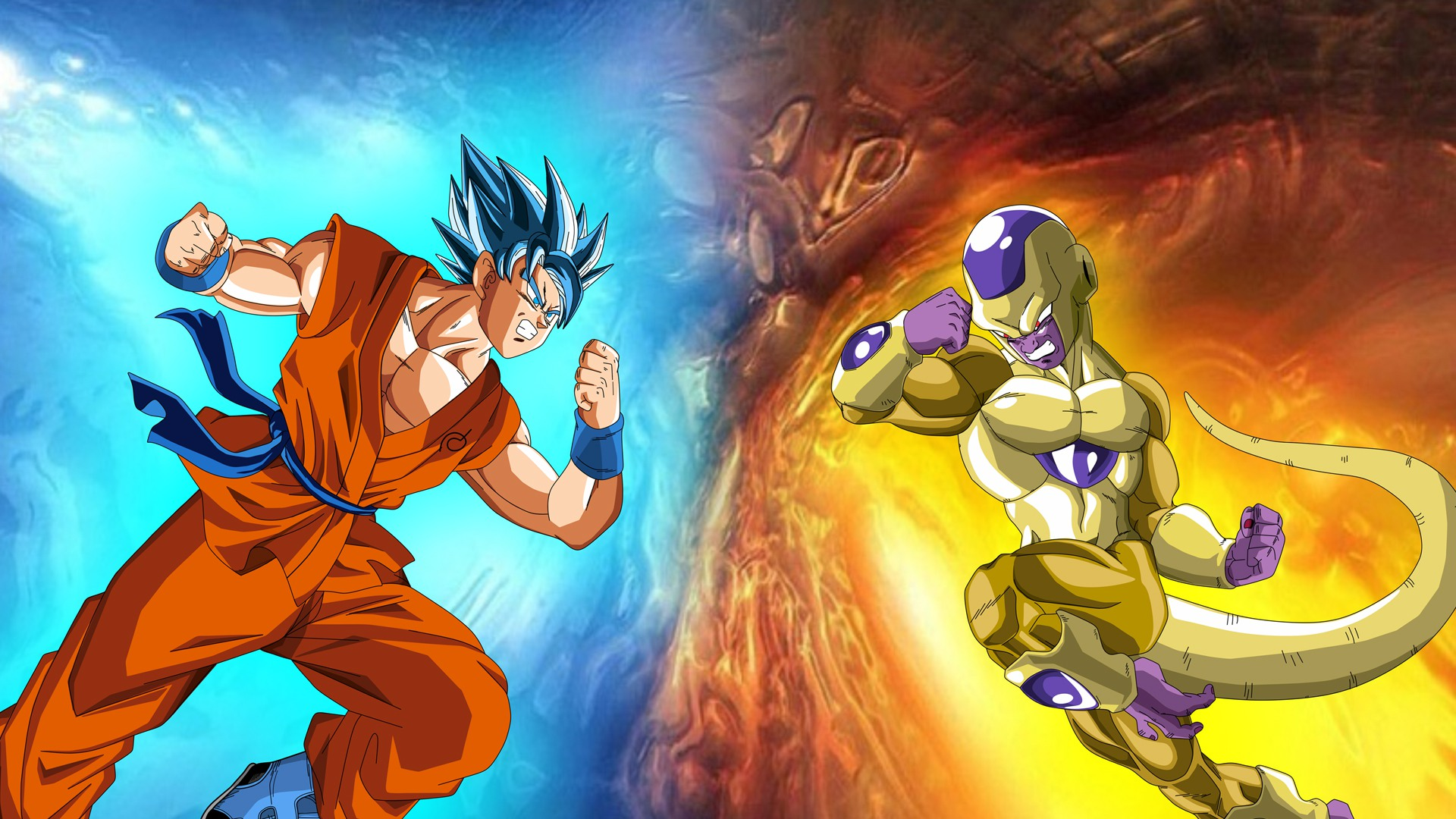 Goku Vs Golden Frieza Full HD Wallpaper And Background Image