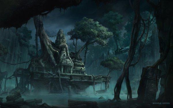 Fantaisie Ruine Nuit Forêt Arbre Fond d'écran HD | Arrière-Plan